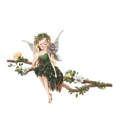 Cute hand drawn fairy in floral wreath, sitting on the tree, woodland watercolor illustration