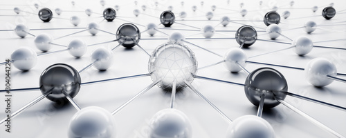 Cuadros en Lienzo  Sphere network structure - abstract design connection design - 3D illustration