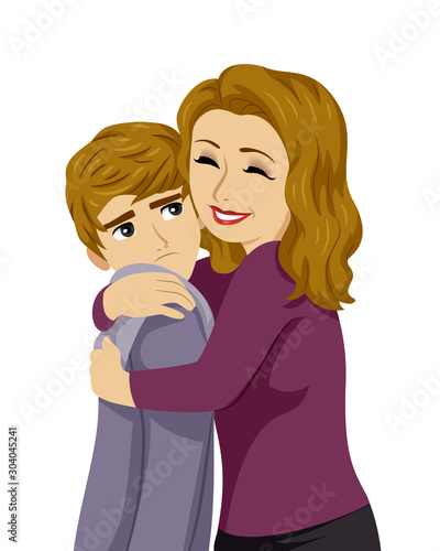 Fotografie, Tablou Teen Boy Mom Hug Feel Awkward Illustration