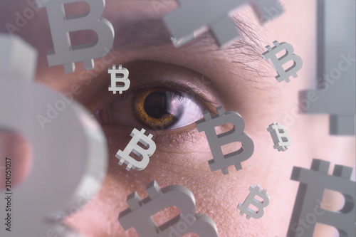 Human face and cryptocurrency. Selective focus. Canvas Print