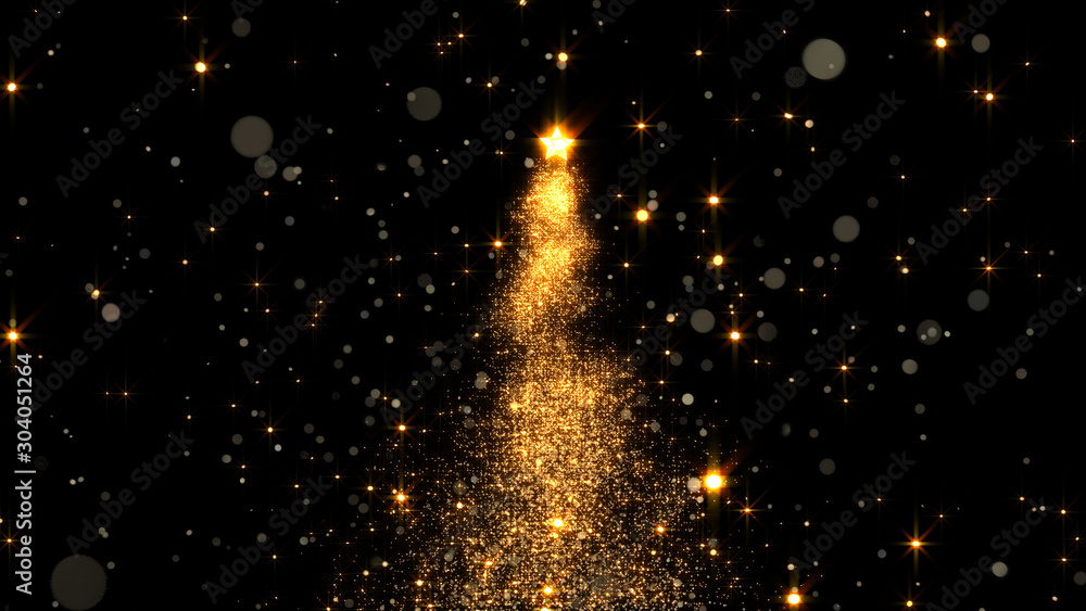 Fototapety, obrazy: shining star Christmas tree. 3d rendering