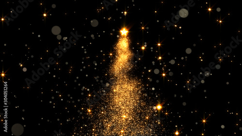 Fotografía  shining star Christmas tree. 3d rendering
