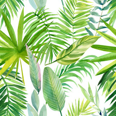 Fototapeta Do szkoły seamless pattern, watercolor tropical leaves on isolated white background, digital paper