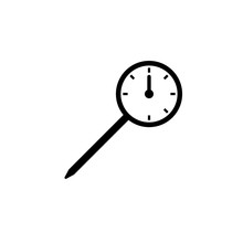 Round Meat Thermometer Icon. Clipart Image Isolated On White Background