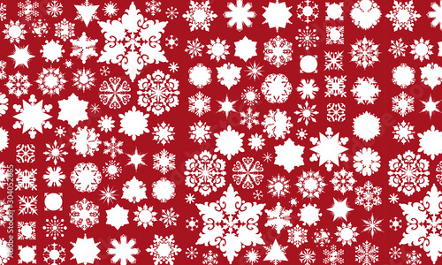 Photo  Vector background with snowflakes pattern in white on red