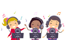 Stickman Kids Girls Pop Star Record Illustration