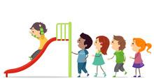 Stickman Kids Take Turns Slide Illustration