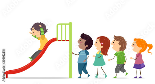 Stickman Kids Take Turns Slide Illustration