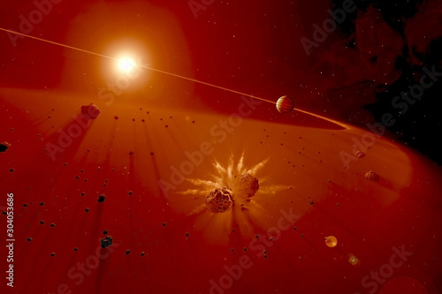 Of asteroid collision among cosmic dust Canvas Print