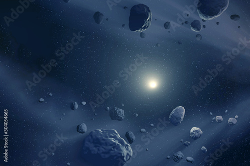 Photo Asteroids flying in space, through the dust