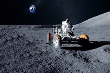 Astronaut Near The Moon Rover ...
