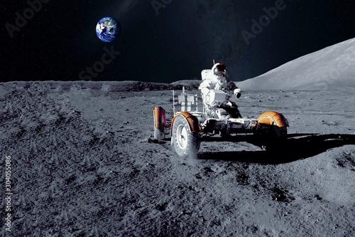Canvas Astronaut near the moon rover on the moon