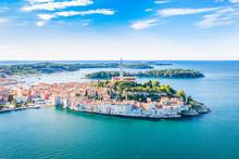 Croatia, Panoramic View Of Beautiful Blue Adriatic Coast In Istria, Aerial Of Old Town Of Rovinj