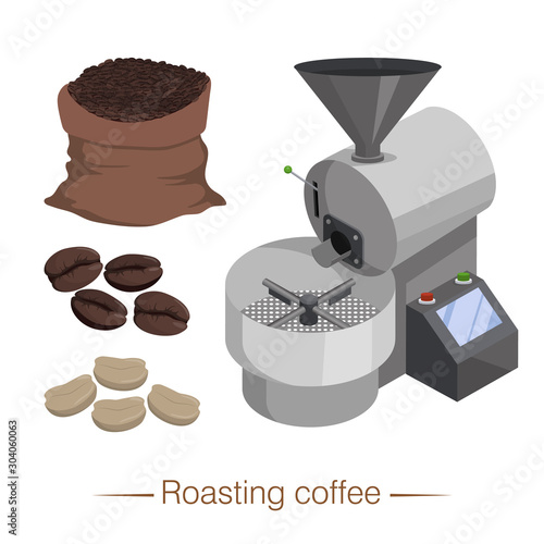 Industrial coffee roaster, coffee beans before and after heat treatment Fototapeta