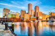 canvas print picture - Boston Skyline with Financial District and Boston Harbor at Sunrise