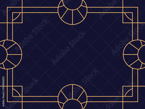 Fototapety, obrazy: Art deco frame isolated on black background. Vintage linear border. Design a template for invitations, leaflets and greeting cards. The style of the 1920s and 1930s. Vector illustration