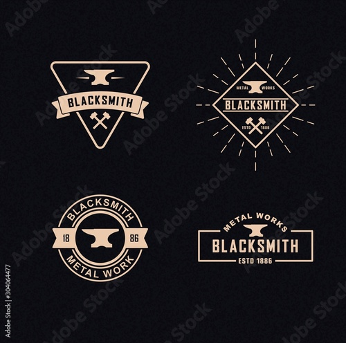 Color illustration a set of blacksmith logos on a background with a texture Wallpaper Mural