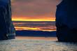 Gletscher und Sonnenuntergang