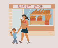 Bakery Shop Facade With People, Woman And Child Cartoon Characters Buying Fresh Bread. Bakery Showcase Window Full Of Baked Production - Bread, Loaf And Baguette, Flat Vector Illustration.