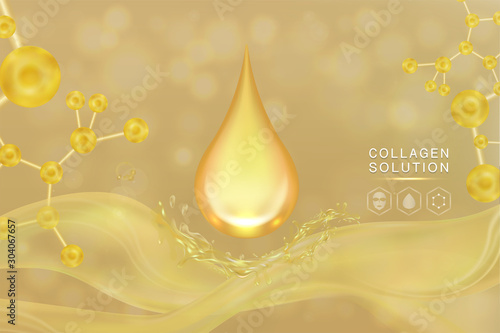 Pinturas sobre lienzo  Hyaluronic acid skin solutions ad, gold collagen serum drop with cosmetic advertising background ready to use, illustration vector