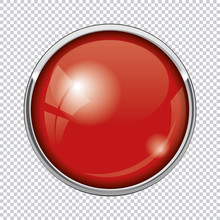 Red Round Button Isolated On T...