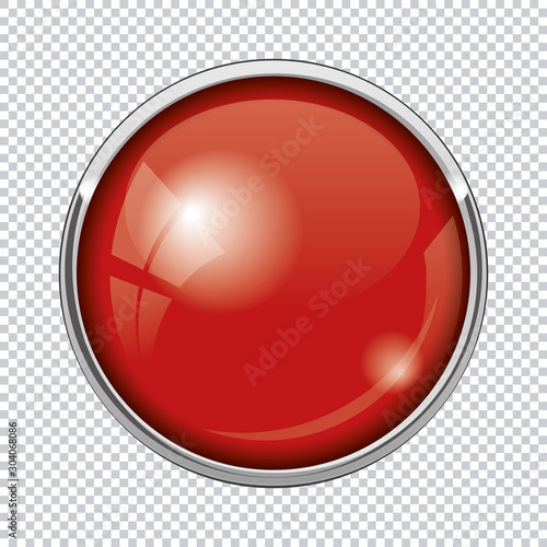 Fotomural red round button isolated on transparent background
