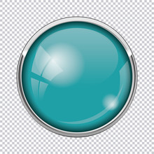 Blue Round Button Isolated On Transparent Background