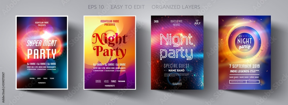 Set poster for night party.Flyer design template.Concept design for banner.Set flyer for dance club party.Layout invitation.Abstract background.Layout cover booklet.Vector wallpaper.Poster template. <span>plik: #304070067 | autor: PYOTR.ME</span>