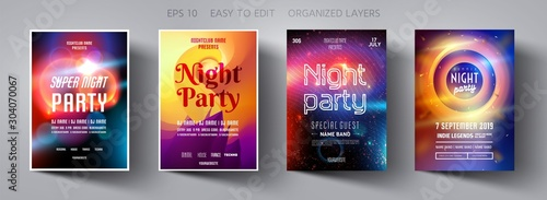 Set poster for night party.Flyer design template.Concept design for banner.Set flyer for dance club party.Layout invitation.Abstract background.Layout cover booklet.Vector wallpaper.Poster template.