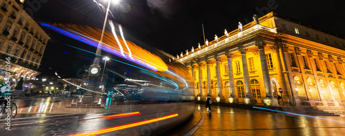 Tram passing the Grand Théâtre de Bordeaux at night in New Aquitaine, France Canvas Print