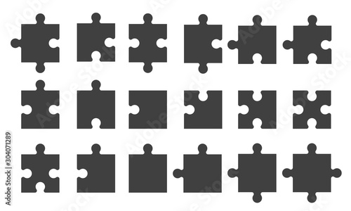 Obraz Set black puzzle pieces isolated - fototapety do salonu