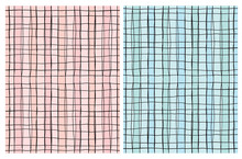 Pastel Color Hand Drawn Irregular Geometric Patterns. Tiny Black Grid Isolated On A Pink And Blue Striped Background. Cute Checkered Vector Print Ideal For Fabric, Textile, Wrapping Paper.