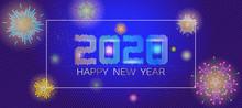 Vector 2020 Happy New Year Celebration Banner BG