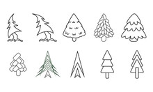 Set Of Line Art Christmas Trees And Fir Trees For Coloring Book For Children Or Kids Coloring Page. Outline Illustration Isolated On Flat White Background For Printing And Easy Use. Raster Image