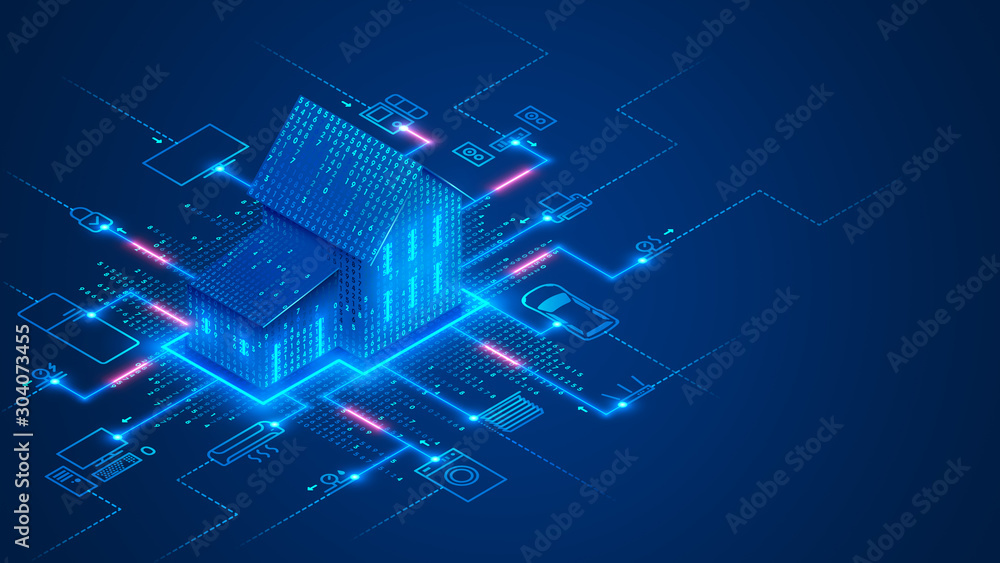 Fototapeta Smart home technology conceptual banner. Building consists digits and connected with icons of domestic smart devices. illustration concept of System intelligent control house on blue background. IOT.