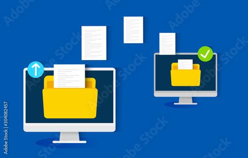 Fototapeta file transfer concept, vector illustration