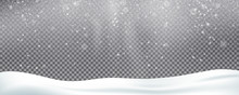Snow Background Overlay. Realistic Snow. Winter Christmas And New Year Snow Decoration
