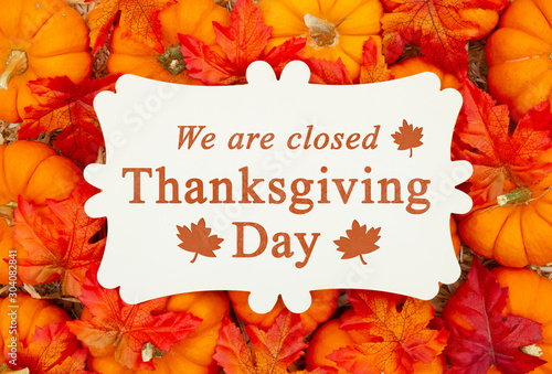 Poster Countryside We are Closed Thanksgiving Day sign on a metal sign on pumpkins