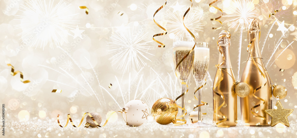 Fototapeta New Years Eve Celebration Background with Champagne and Confetti. Golden Holiday Party