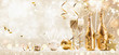 Leinwanddruck Bild - New Years Eve Celebration Background with Champagne and Confetti. Golden Holiday Party