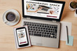 canvas print picture - Coworking space concept on laptop and smartphone screen