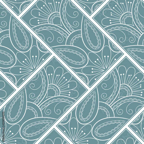 Autocollant pour porte Style Boho Line art seamless pattern for fabric or wrapping paper. Background with hand-drawn elements