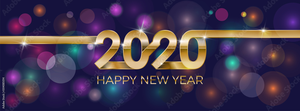 Fototapeta 2020 Happy New Year. Banner invitation, party poster glittering stars confetti glitter decoration. Winter holiday greeting card design template with gold text Happy New Year 2020. Vector Illustration.
