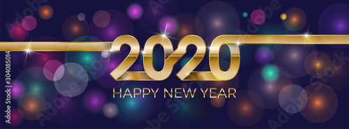 Fototapeta 2020 Happy New Year. Banner invitation, party poster glittering stars confetti glitter decoration. Winter holiday greeting card design template with gold text Happy New Year 2020. Vector Illustration. obraz