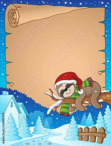 Spoed Fotobehang Voor kinderen Christmas sloth theme parchment 2