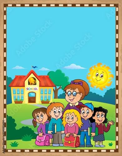 Spoed Fotobehang Voor kinderen School class theme parchment 2