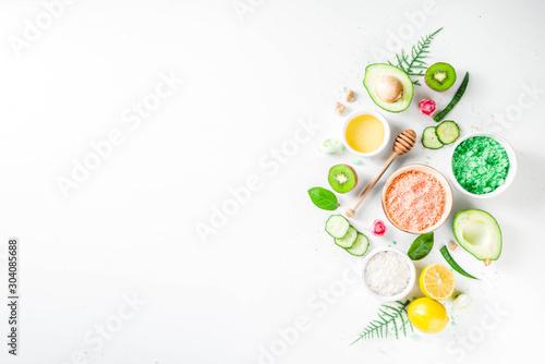 Obraz Natural and organic cosmetic concept. Spa and aromatherapy, Homemade cosmetics ingredients, extracts for natural beauty skincare product honey, lemon, almond, kiwi, cucumber, aloe vera, salt, yogurt - fototapety do salonu