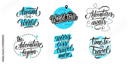 Obraz Travel, adventure, vacations lettering set. Handwritten phrases, slogans or quotes. Calligraphic elements for your design. Vector illustration. - fototapety do salonu