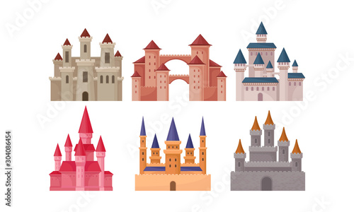 Castles and Fortresses Vector Set. Medieval Buildings Collection Canvas