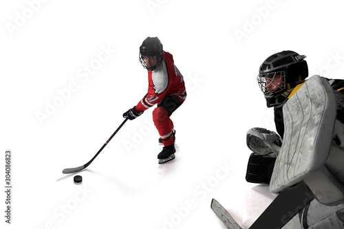 Ice hockey isolated on white Wallpaper Mural